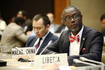 Liberia's Commerce Minister, Hon. Axel M. Addy at the Conference